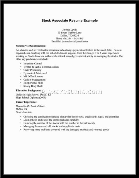 sle of resume for college students with no experience sle resume for high school graduate with no work