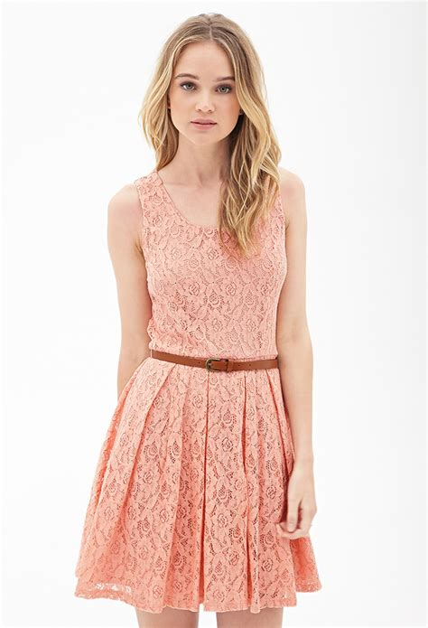 forever 21 belted crochet lace dress in pink lyst