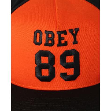 Obey Orange obey gridiron snapback cap orange black