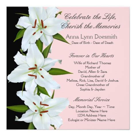 templates for funeral announcements white lily funeral announcements 5 25 quot square invitation