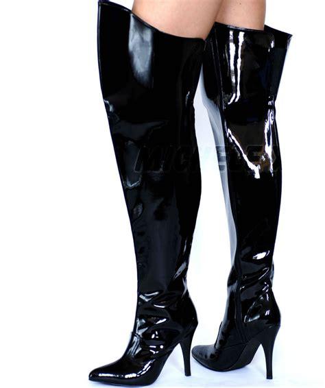 new pvc high heel thigh high boots black uk sizes 4 5