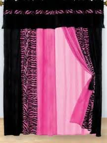 Pink curtains hot pink amp black zebra micro fur window covering tween