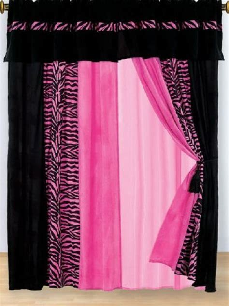 hot pink and black curtains pink curtains hot pink black zebra micro fur window