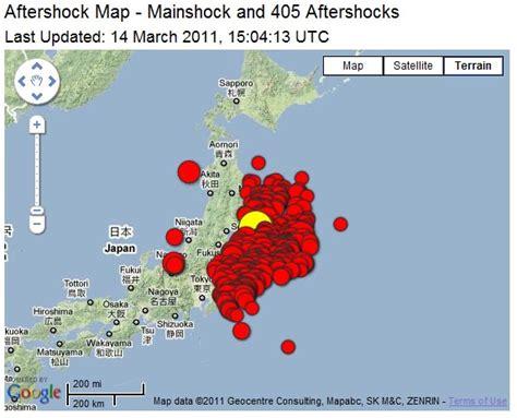 Japan Aftershock japan aftershock map 405 aftershocks so far