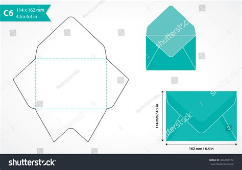 a6 card size template cutout paper envelope template stock vector