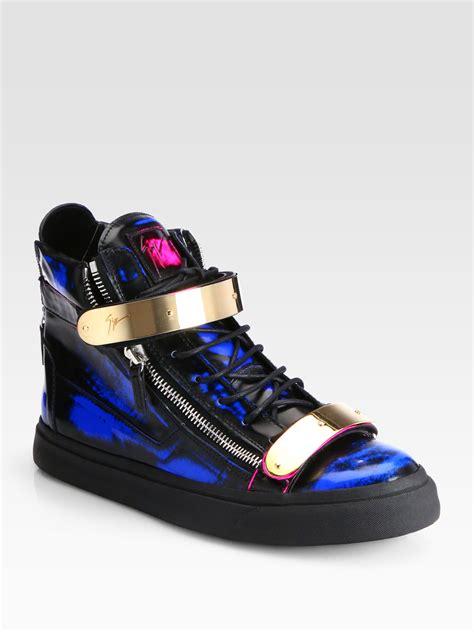 giuseppe zanotti blue sneakers giuseppe zanotti bar hightop sneakers in blue for
