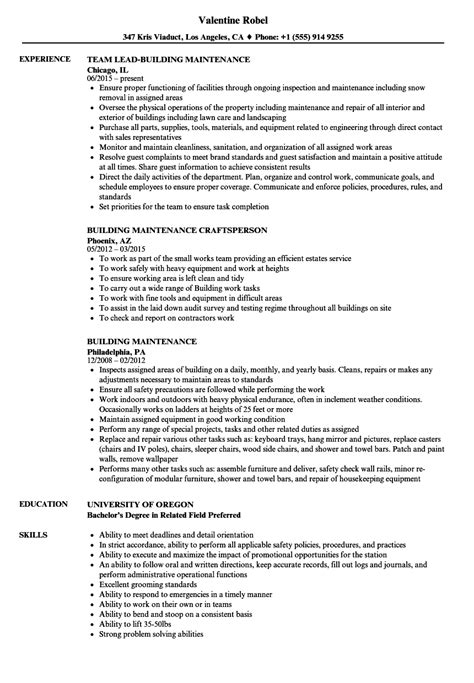 Building Maintenance Resume by Building Maintenance Resume All Resume Simple