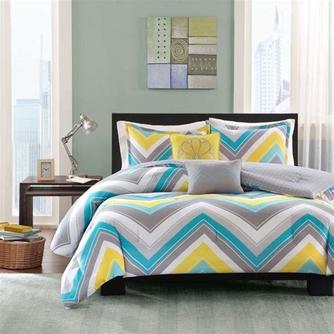 blue chevron comforter sporty blue teal yellow grey white chevron stripe