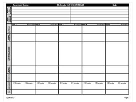 4th grade lesson plan template 4th grade common weekly lesson plan by