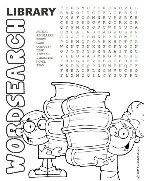 printable reading puzzles printable library word search