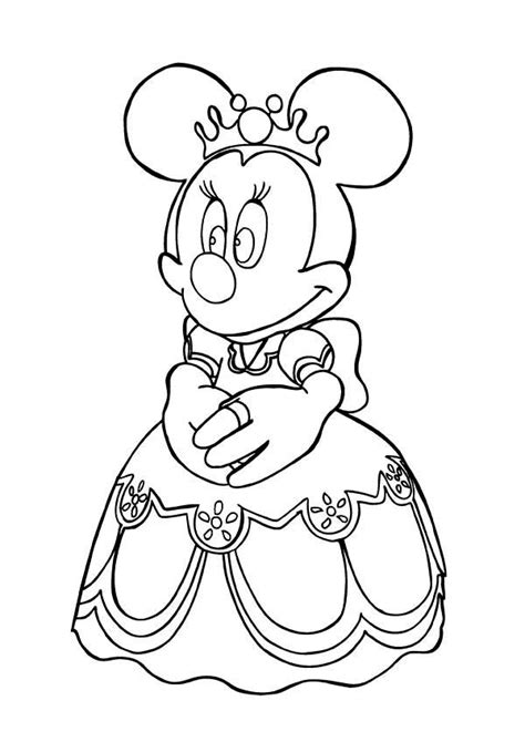 Princess Minnie Mouse Coloring Page Princess Minnie Mouse Minnie Mouse Princess Printable