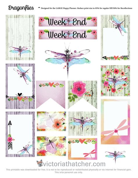 dragonfly planner free printable dragonflies planner stickers from