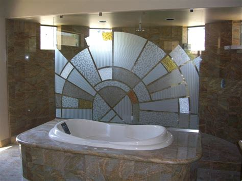 glass divider design decorative glass for the bathroom adds a custom flair