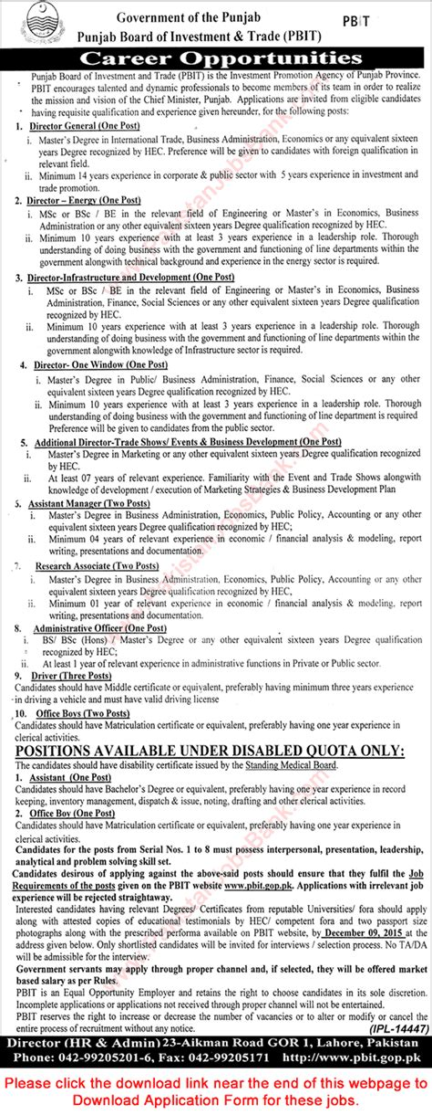 Mba Punjab Lahore 2015 by Punjab Board Of Investment And Trade Lahore 2015