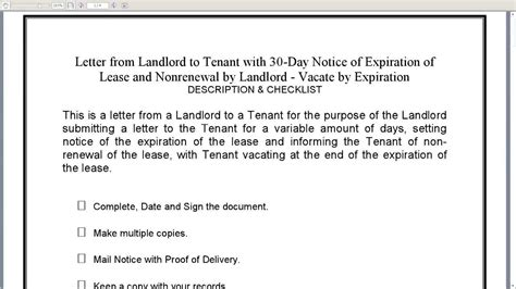 Letter Of Nonrenewal Of Contract Of Lease landlord to tenant 30 day notice of expiration of lease