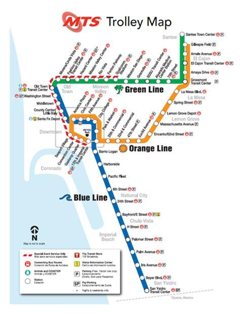 san diego trolley map san diego trolley transportation system