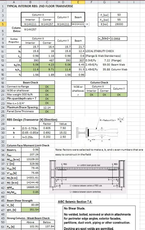 code section 754 excel spreadsheet design for engineering calculations on