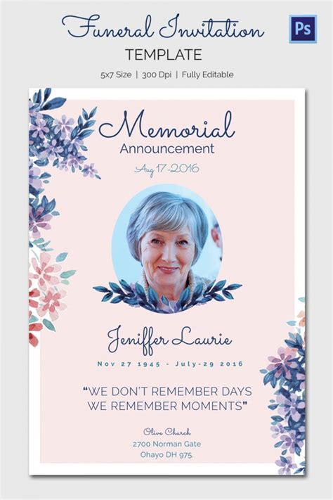 memorial card templates 15 funeral invitation templates free sle exle