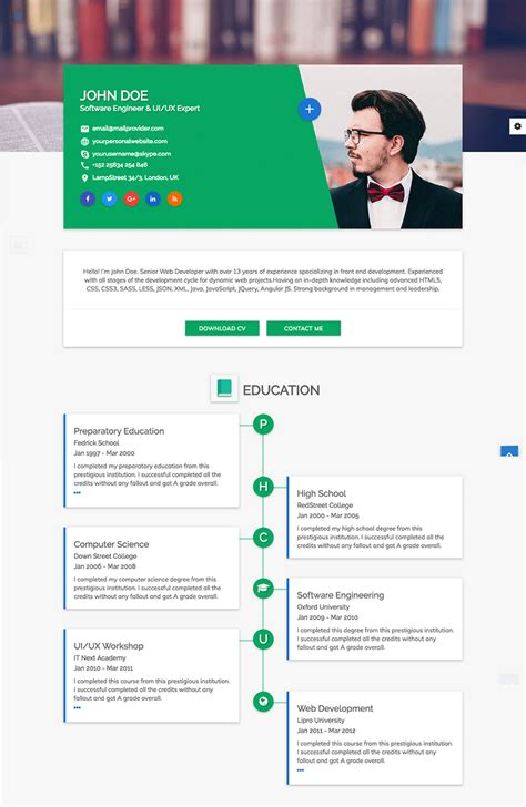 18 Best Html Resume Templates For Awesome Personal Websites 2018 Programmer Personal Website Template