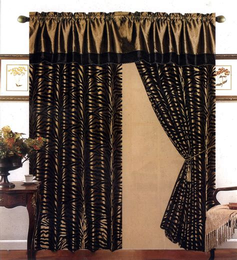 zebra window curtains 4 pieces satin light green black flocking zebra pattern