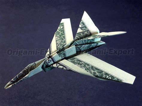 Dollar Origami Plane - f 15c strike eagle jet fighter money vincent the artist
