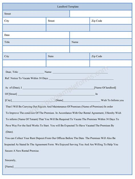 landlord template form sle forms