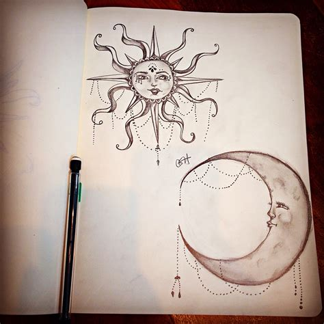 moon and doodle moon sun pencil drawing the pencil