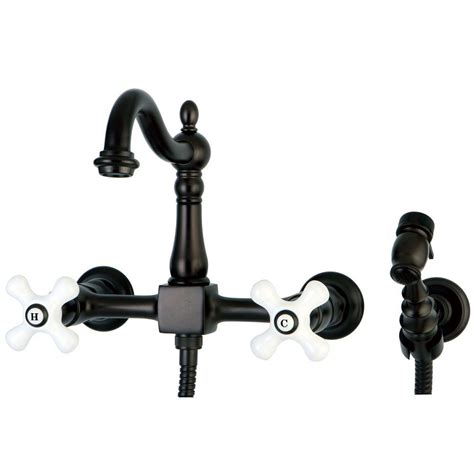 wall mount kitchen faucet with sprayer kingston brass victorian 2 handle wall mount side sprayer