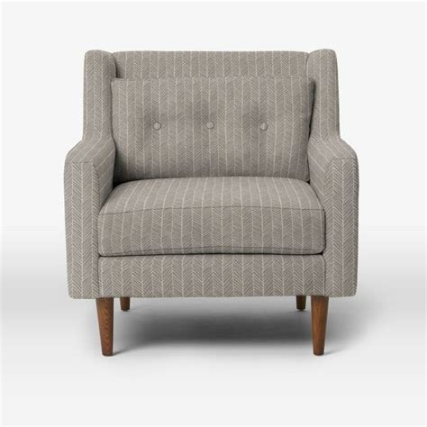 West Elm Armchair crosby armchair herringbone print platinum midcentury armchairs and accent chairs by