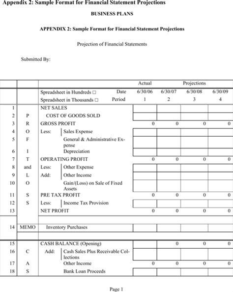 projected financial statements template sle financial projections templates for free