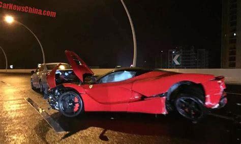 laferrari crash test crashes laferrari in china heavy damage