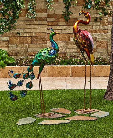 Lawn Garden Decor Colorful Metallic Metal Bird Statue Garden Yard Lawn Outdoor Home Decor Ornament Ebay