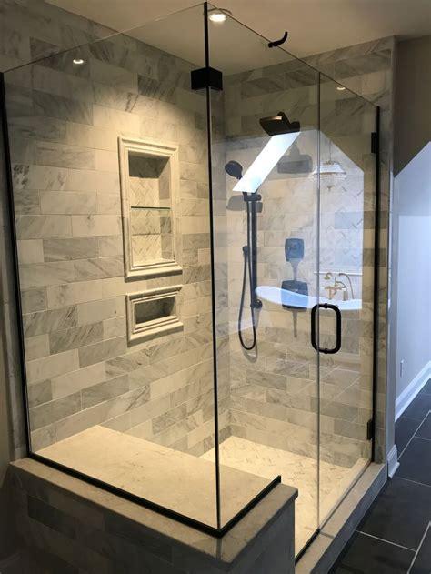 hampton carrera marble tile oil rubbed bronze shower