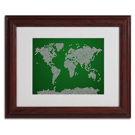 11 in x 14 in soccer balls world map matted framed