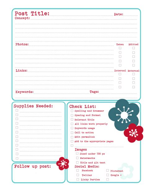 sugar tart crafts printable blog planners with
