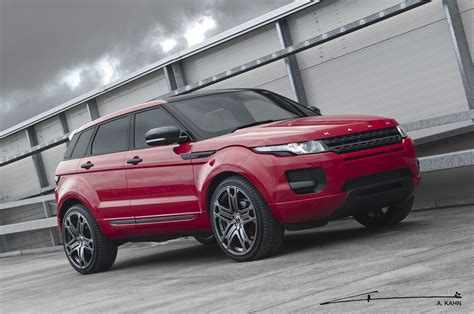 red land rover kahn red range rover evoque