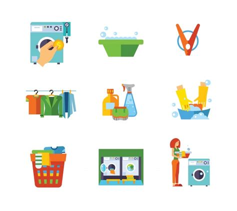 Mesin Graphic laundry icon collection vector free