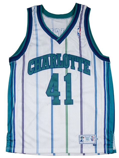 hornets new year jersey lot detail 1997 98 glen rice used hornets