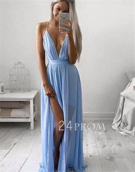 A line V neck blue chiffon long prom dress, evening dress