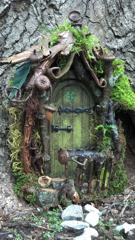 fairy homes curled mossy awning fairy door and house gardens