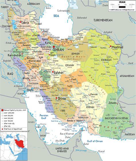 iran on a map detailed political map of iran ezilon maps