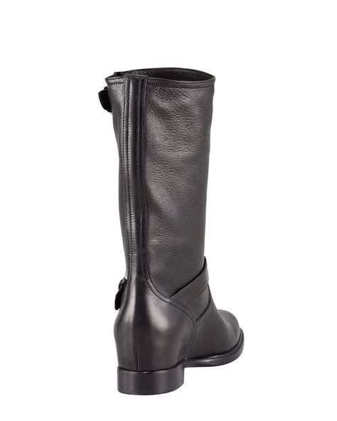 prada womens leather buckle wedge boot