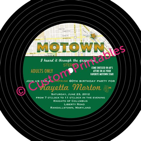 printable record invitations custom printables motown party invitation
