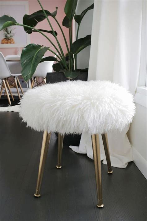 Recover Dining Room Chairs furry stool a beautiful mess i ve decorated most rooms