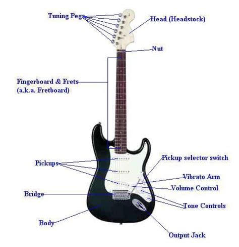 the electric guitar parts and how they work