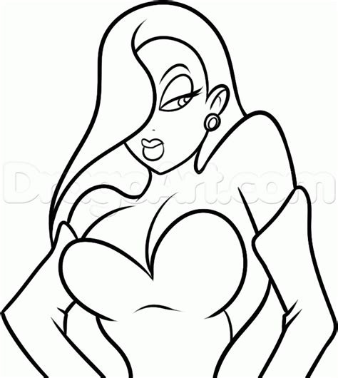 simple rabbit coloring page step 7 how to draw jessica rabbit easy