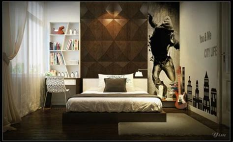 luxury bedroom with feature wall and glass panel window rendered by yim interior design