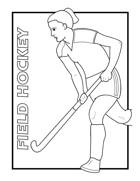floor hockey coloring pages clip art sports icon field hockey b w abcteach