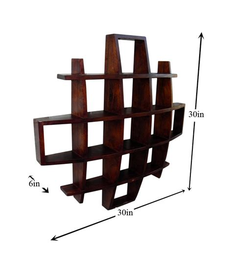 Showpiece Rack by Cayenne Mango Wood Wall Display Rack By Market Finds