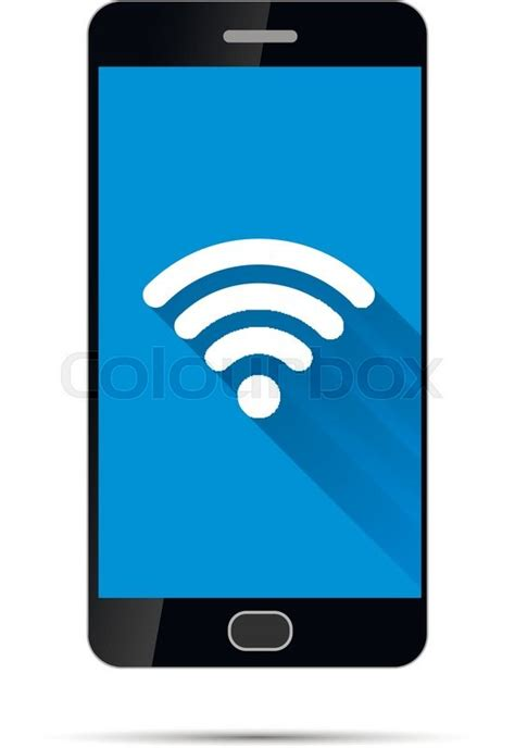 Wifi Smartphone realistic black smartphone with wifi icon on blue background isolated on white stock vector